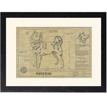 Personalized Framed Dog Breed Architectural Renderings - Shiba Inu