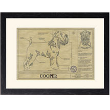 Personalized Framed Dog Breed Architectural Renderings - Wheaten Terrier