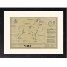 Personalized Framed Dog Breed Architectural Renderings - Cane Corso