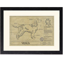 Personalized Framed Dog Breed Architectural Renderings - Gordon Setter