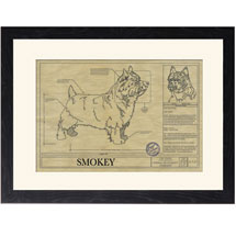 Personalized Framed Dog Breed Architectural Renderings - Norwich Terrier