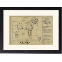 Personalized Framed Dog Breed Architectural Renderings - Wirehaired Pointing Griffon