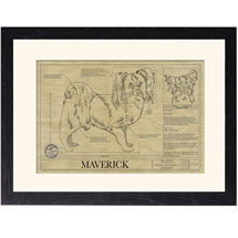 Personalized Framed Dog Breed Architectural Renderings -Papillion