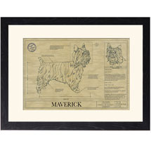 Personalized Framed Dog Breed Architectural Renderings -Silky Terrier