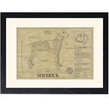 Personalized Framed Dog Breed Architectural Renderings -Braque Francais