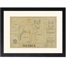 Personalized Framed Dog Breed Architectural Renderings -Miniature Bull Terrier