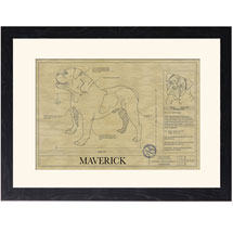 Personalized Framed Dog Breed Architectural Renderings -Olde English Bulldogge