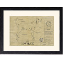 Personalized Framed Dog Breed Architectural Renderings -Redbone Coonhound