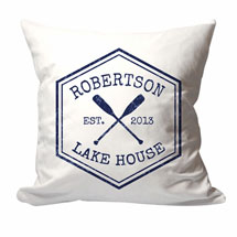 Personalized Lake House Family Name Pillow