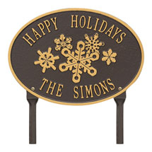 Personalized Oval Snowflake Lawn Plaque