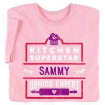 "Personalized Pink ""Kitchen Superstar"" Shirt"