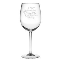 Personalized Nice/Naughty List Stemmed Wine Glass