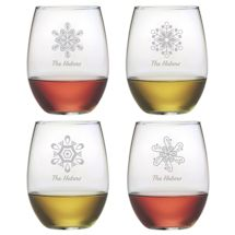 Personalized Snowflakes Stemless Wine Glasses - Set of 4