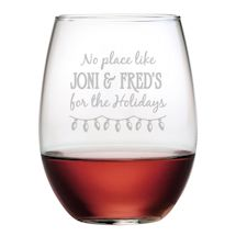 "Personalized ""Home for the Holidays"" Stemless Wine Glasses - Set of 4"