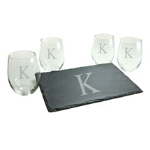 Personalized Initial Stemless Wine Glasses and Slate Cheese Board Set - Block Font