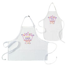 "Personalized ""Queen"" and ""Princess"" Mommy and Me Apron Set"