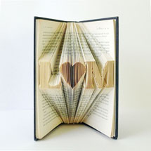 Custom Folded Book Art - Initials with Heart