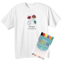 Children's Color Your Own Holiday Ornaments T-Shirt & Markers Set
