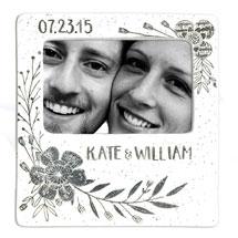 Handmade Ceramic Floral Couple Photo Frame - 7 ½ x 8