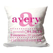 Personalized Pink Birth Announcement Pillow