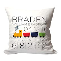 Personalized Choo-Choo Train Birth Announcement Pillow