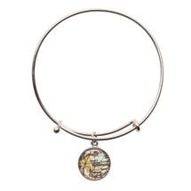 Engraved Custom Map Adjustable Bangle Bracelet