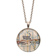 "Engraved Custom Map 1"" Pendant Necklace"
