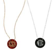 Personalized Acrylic Monogram Disc Necklace