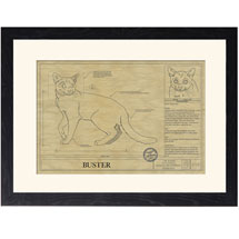 Personalized Framed Cat Breed Architectural Renderings - Russian Blue