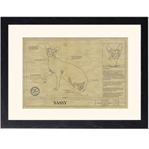 Personalized Framed Cat Breed Architectural Renderings - Sphynx