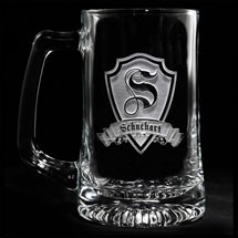 Personalized Shield Initial Beer Mug