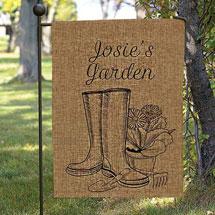 Personalized Garden Boots Burlap Garden Flag