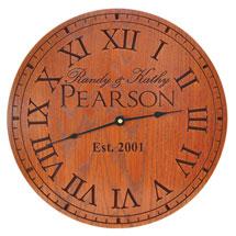 Personalized Oak Wood Clock