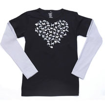 Heart Of Cats Double-Up Ladies Long Sleeve T-Shirt
