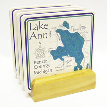 Personalized Lake Art Set Of 4 Coasters With Light Wood Stand