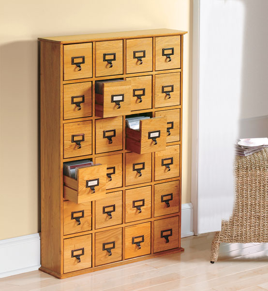 Library Catalog Media Storage Cabinet 24 Drawer Stores