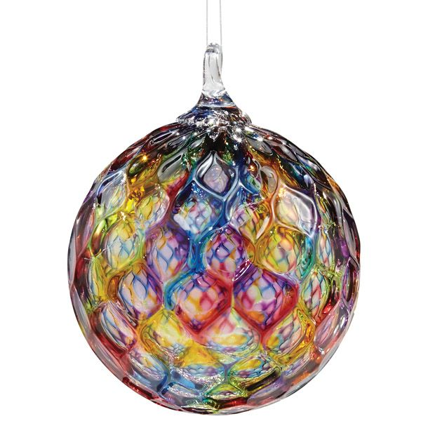 Hand blown faceted rainbow glass hanging ornament - Hanging christmas ornaments ...