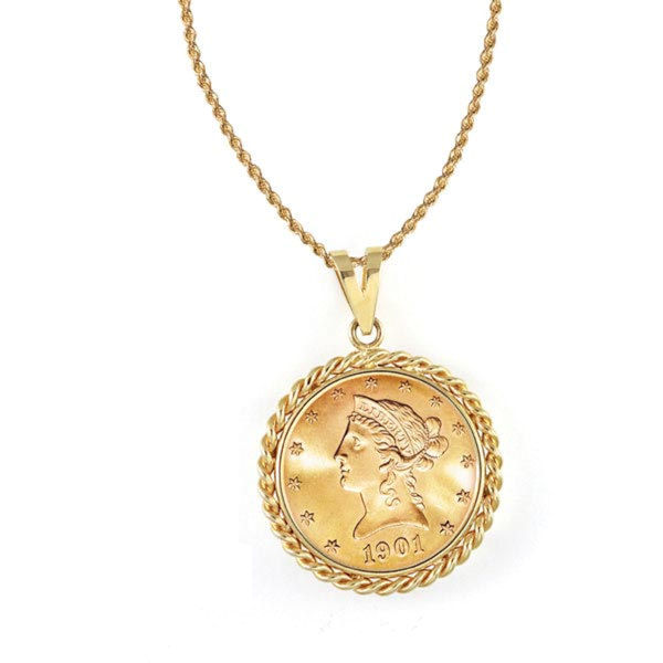 0c6ab05358214 $10 Liberty Gold Piece Eagle Coin In 14K Gold Rope Bezel (18