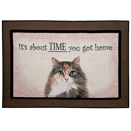About Time You Got Home Cat Rug or Doormat