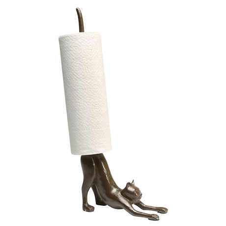 Cat Paper Towel Holder in Cast Iron