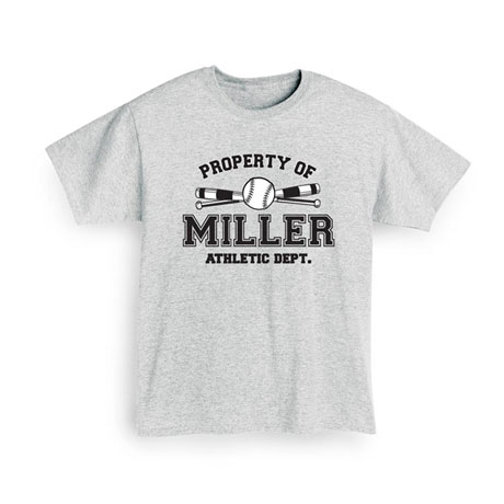 """Personalized Property of """"Your Name"""" Softball T-Shirt"""