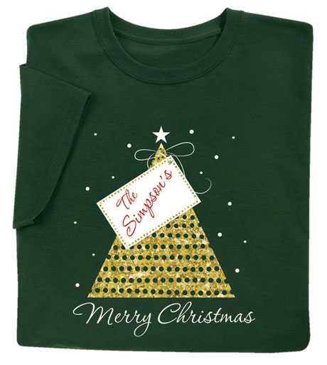 "Customized ""Your Name"" Gift Tag Merry Christmas Shirt"