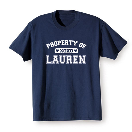 """Personalized Property of """"Your Name"""" XoXo Shirt"""