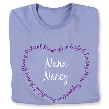 "Personalized ""Your Name"" Heart Shaped Attributes Shirt - Two Lines"