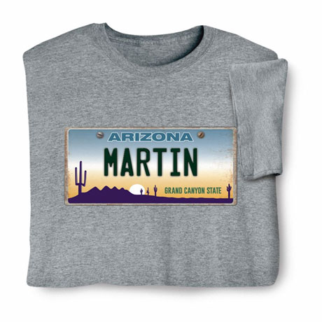 Personalized State License Plate Shirts - Arizona