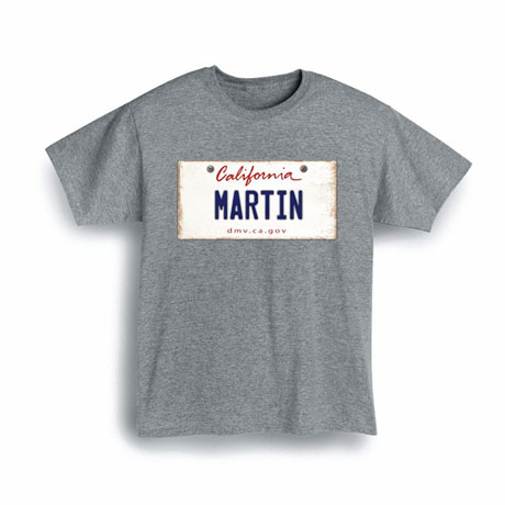 Personalized State License Plate Shirts - California