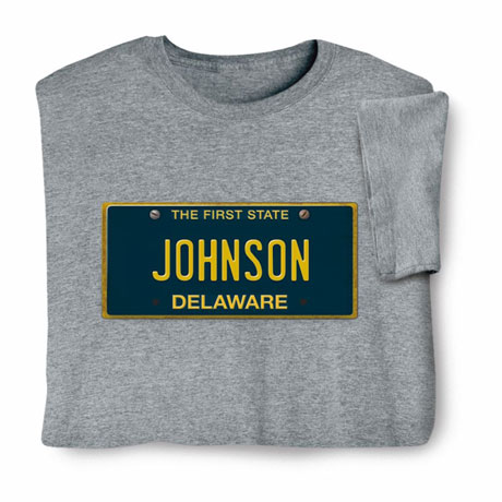 Personalized State License Plate Shirts - Delaware