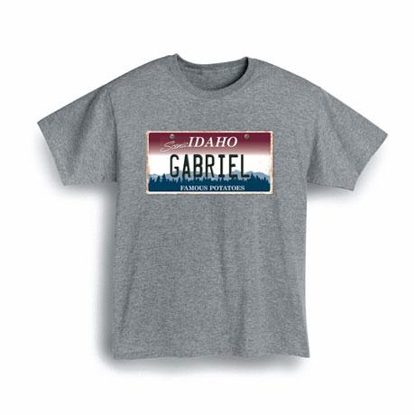 Personalized State License Plate Shirts - Idaho