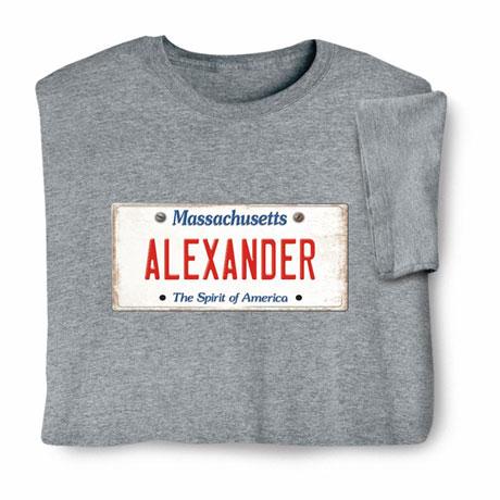 Personalized State License Plate Shirts - Massachusetts
