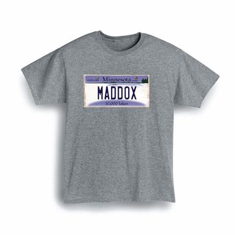 Personalized State License Plate Shirts - Minnesota